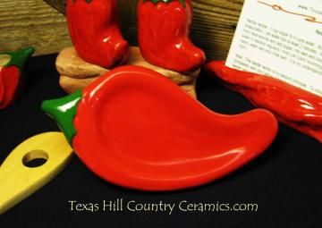 Bright Red Ceramic Chili Pepper Spoon Rest or Soap Dish by TexasCeramics for $15.00