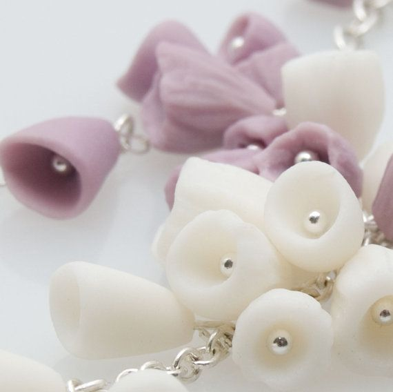 Purple and white ceramic porcelain flowers and by MaaPstudio
