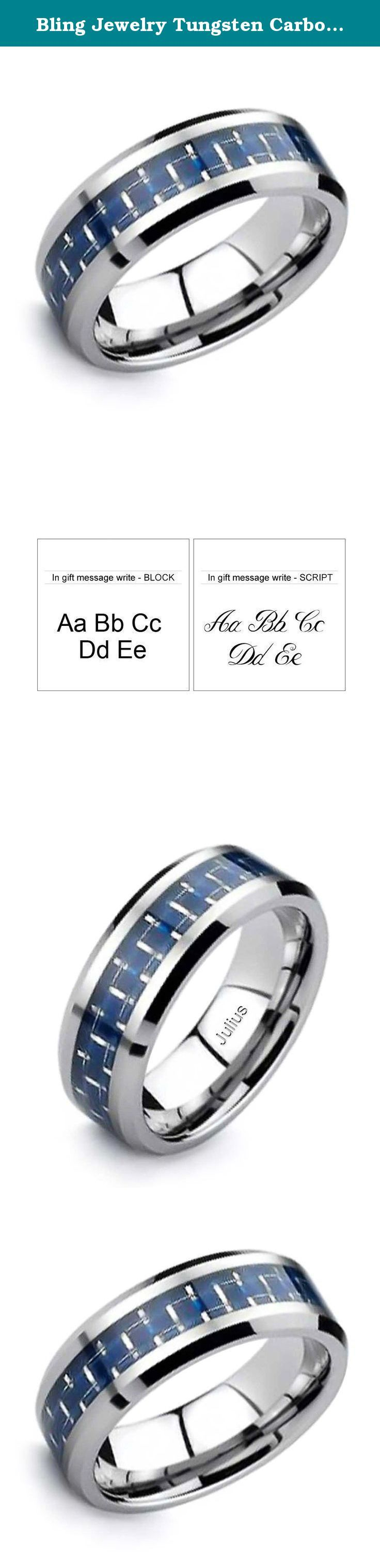 Bling Jewelry Tungsten Carbon Fiber Cobalt Blue Inlay Ring