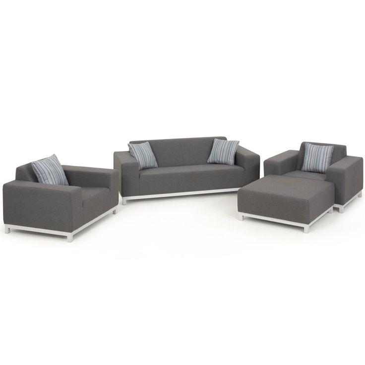 Maze Devane 2 Seat Sofa All Weather Sofa Set & Ottoman  | Internet Gardener