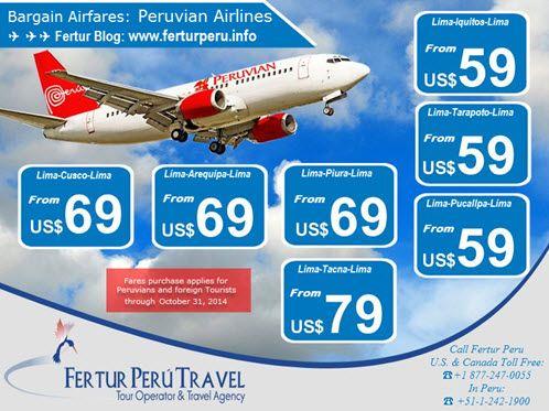 Bargain flights to Cusco and other destinations on Peruvian Airlines from $59 on Peruvian Travel Trends (Valid through Oct. 31, 2014 for Peruvians, legal residents of Peru and in-country foreign tourists)