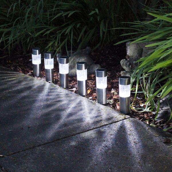 6 X SOLAR POWERED GARDEN LIGHTS POST PATIO OUTDOOR LED LIGHTING STAINLESS STEEL in Garden & Patio, Garden Lighting, Other Garden Lighting | eBay!
