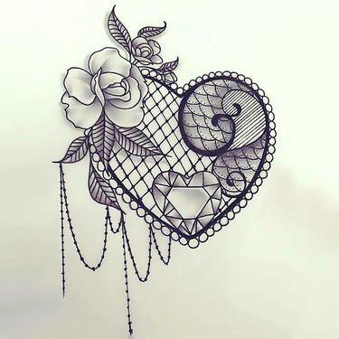 Sexy Lace Heart Tattoo Design