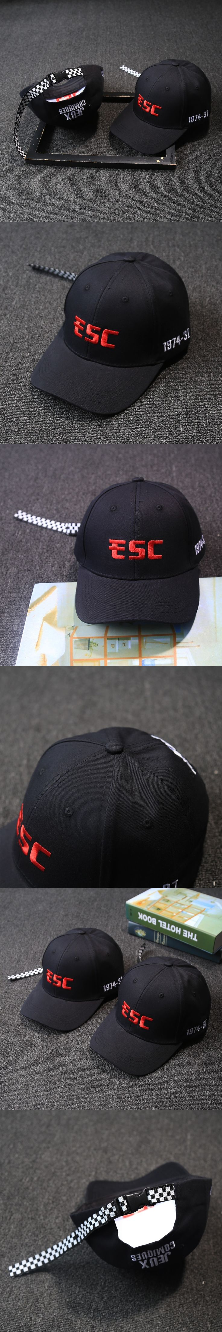 Red Letter Embroidery Checkerboard Regulation Band Baseball Cap Man Fashion Hiphop Peaked Cap Unisex Black Casquette Panel Hats