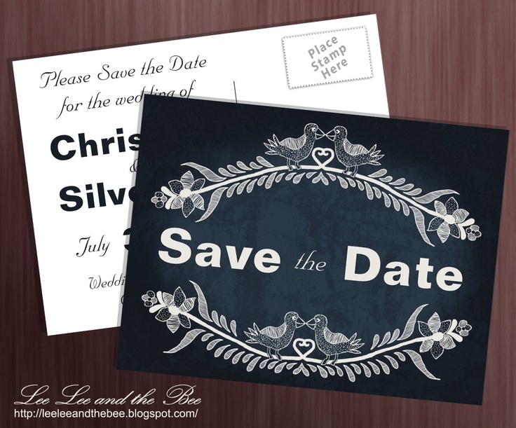 "SOLD! ""Love Bird Vines"" Save The Date postcard."