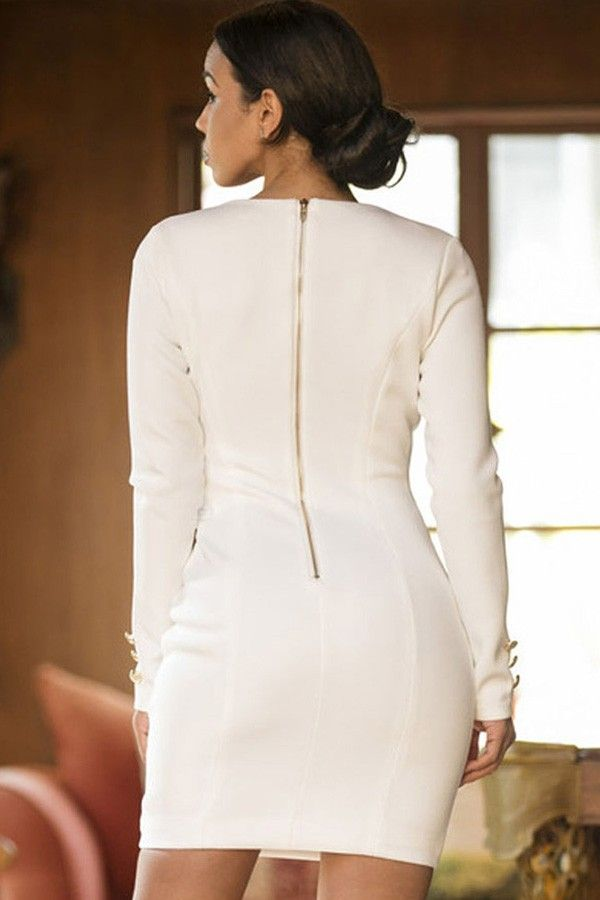 a3c401c6210 White Plunge Long Sleeve Double Breasted Bodycon Dress @ Sexy Club Dresses,Club  Wear Dresses