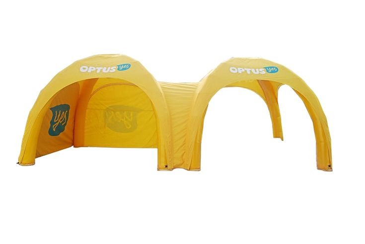 Inflatable marquee for Optus. Front-view.