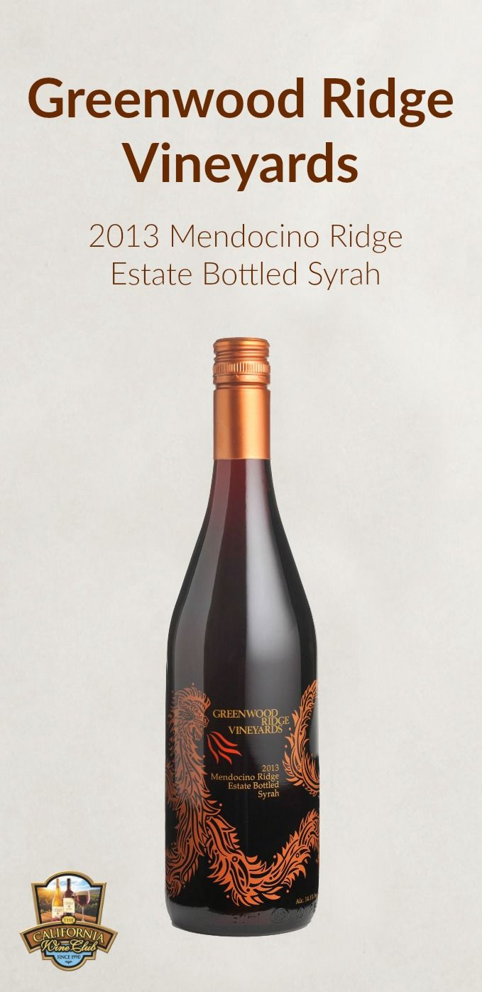 Greenwood Ridge Vineyards 2013 Mendocino Ridge Estate Bottled Syrah