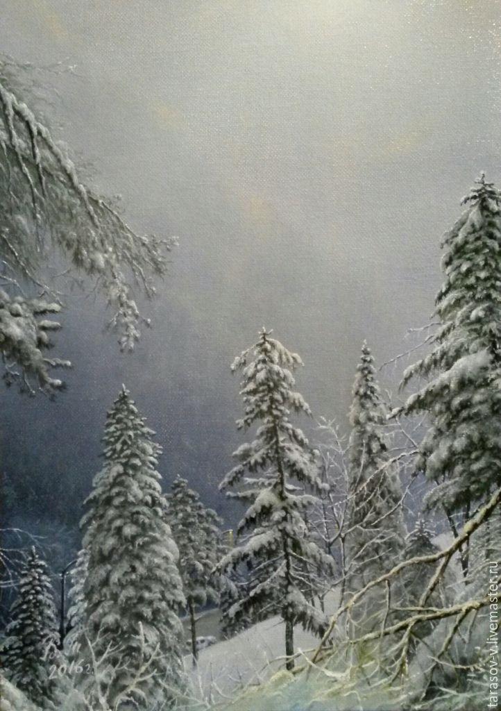 Купить Авторская картина Зима в горах Сочи. - голубой, оливковый, индиго, зеленый, фиолетовый, горы