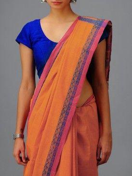 Orange-Turquoise Andhra Cotton Saree