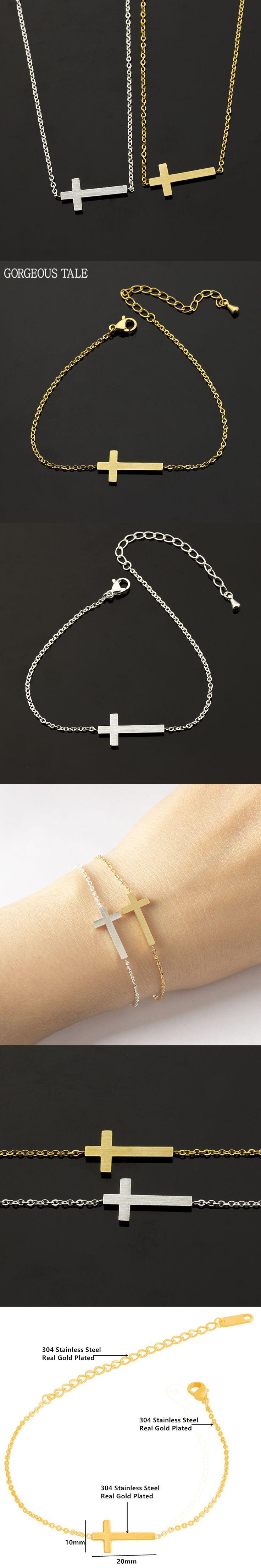 GEORGEOUS TALE Trendy Cross Chain Bracelets Stainless Steel Charm Bracelets Bangles For Women Jewelry Gold Pulseras Mujer