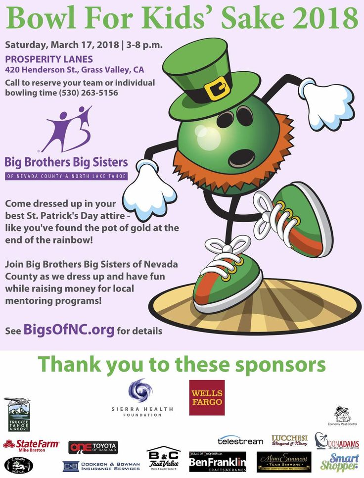 Bowl for Kids' Sake, Big Brothers Big Sisters, Sat, March 17th, Prosperity Lanes, Grass Valley