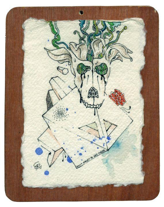 "Original artwork ink trippy art ""Don't forget"" by Chris Richford stoner ink drawing psychedelic cute dog flower stoner art creepy cute art"