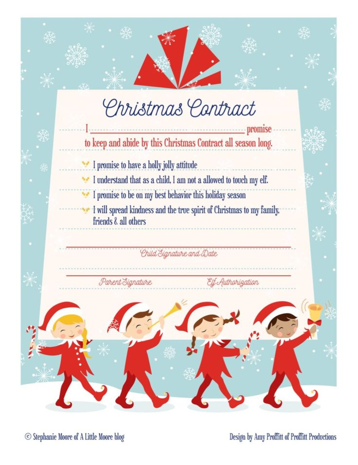 Elf on the Shelf Arrival Christmas Contract - A Little Moore || Elf on the Shelf Ideas for Arrival: 10 Free Printables! || Letters from Santa Blog || A collection of 10 amazing free printable letters for a spectacular Elf on the Shelf arrival!