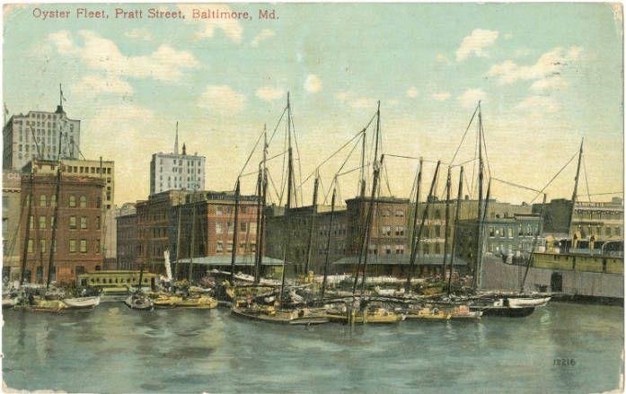 Treasures at the Pratt: Oyster fleet, Pratt Street (1910)