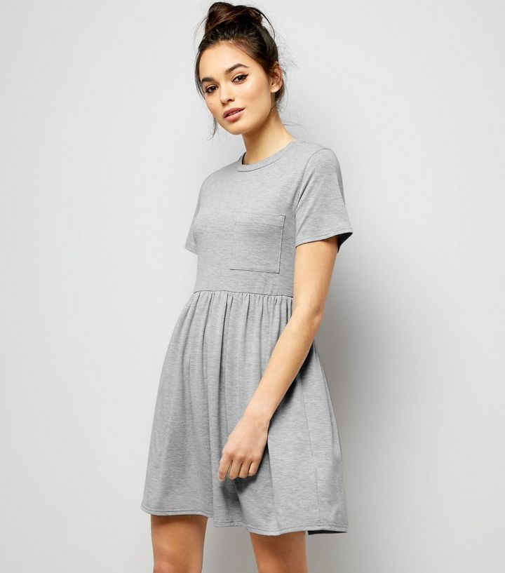 Graues T-Shirt-Hängerkleid aus Jerseystoff   New Look