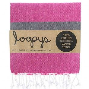 Pink and Grey is so on Trend, don't miss out on this awesome striped Turkish Towel made by Loopys