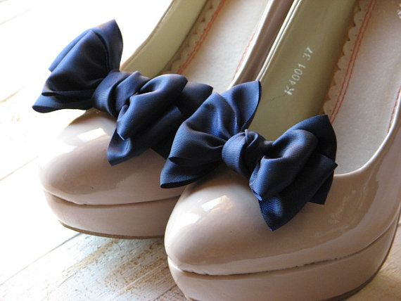 Blue bow shoe clips for your wedding day shoes - something blue!