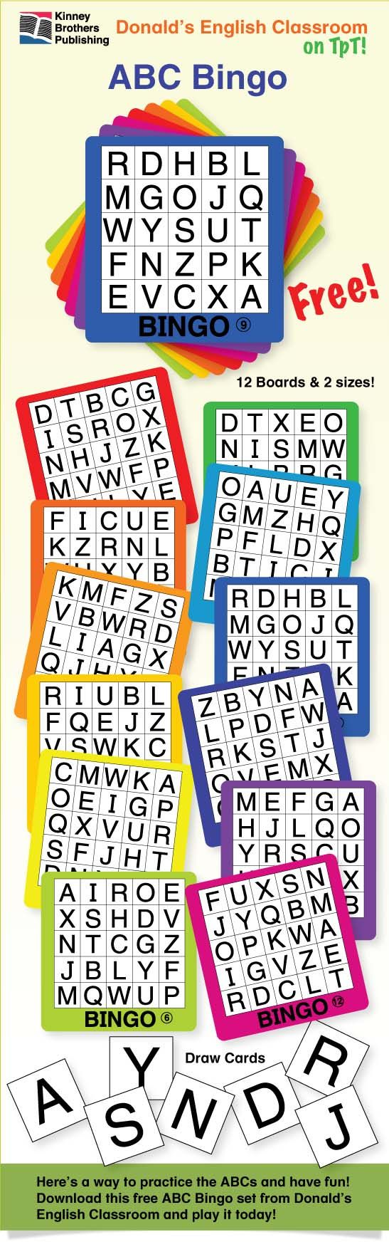 ABC Bingo is a Free game you can start using today!  These rainbow-colored cards will become a mainstay in your collection of fun!  Remember, Bingo isn't just for special occasions! Bingo is a lesson review disguised as a game!  #ELL #ESL #EFL