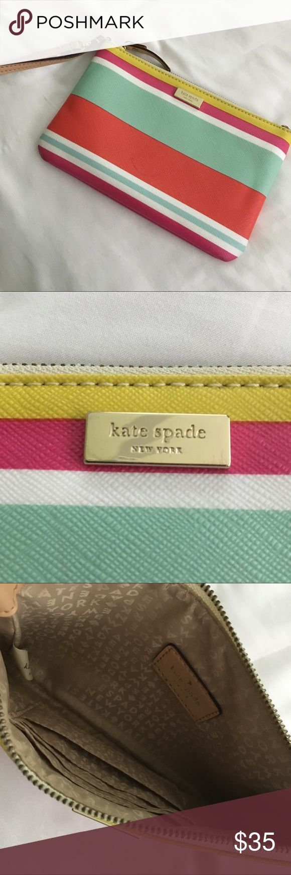 "Kate Spade Wristlet From the Kate Spade Outlet. Used very few times. Will hold phone, keys and has 3 spots for cards. I don't remember the ""original price"" so that's a guess. kate spade Bags Clutches & Wristlets"