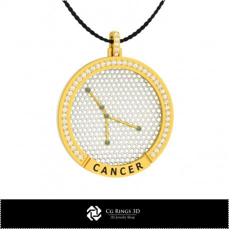 3D CAD Cancer Zodiac Constellation Pendant