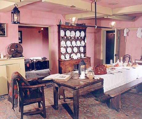 Note the open shelving/upper cupboards; the colors (pink and cream tone found in other areas of servants quarters), plain; victorian kitchens servants kitchens - Google Search