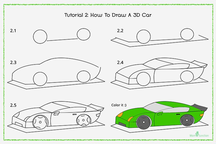 How To Draw A Car Step By Step For Kids Car Drawings Step By