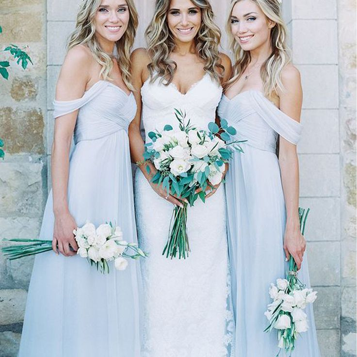 - Repinned by Prindler Productions -Mismatched Different Styles Chiffon Light Blue Sexy A Line Floor-Length Cheap Bridesmaid Dresses, WG104
