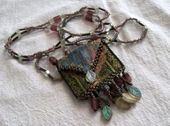 Amulet Bag Beaded Necklace by VintagePlusCrafts on Etsy, $10.00