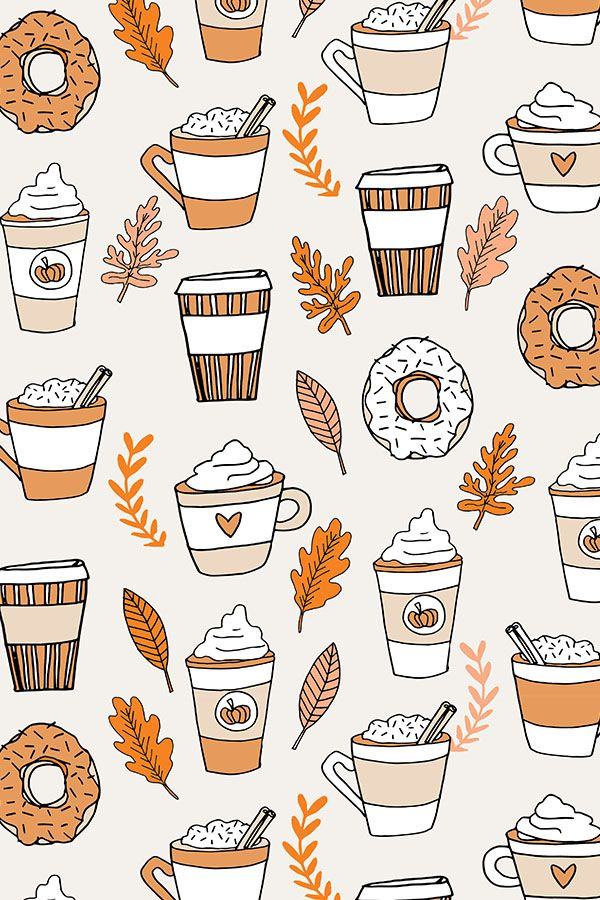 Pumpkin spice latte design by andrea_lauren - Pumpkin spice latte illustration with autumn leaves on fabric, wallpaper, and gift wrap.  We love this playful fall coffee design with fall colors on a tan background. #fall #pumpkinlatte #autumn #design #illustration
