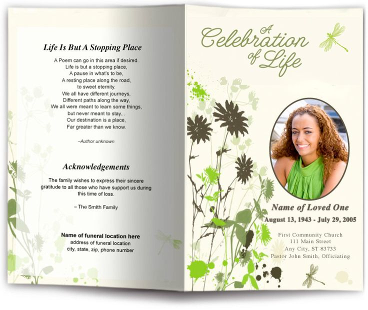 Dragonfly Funeral Program Template Dragonfly Design Memorial - memorial pamphlet template free