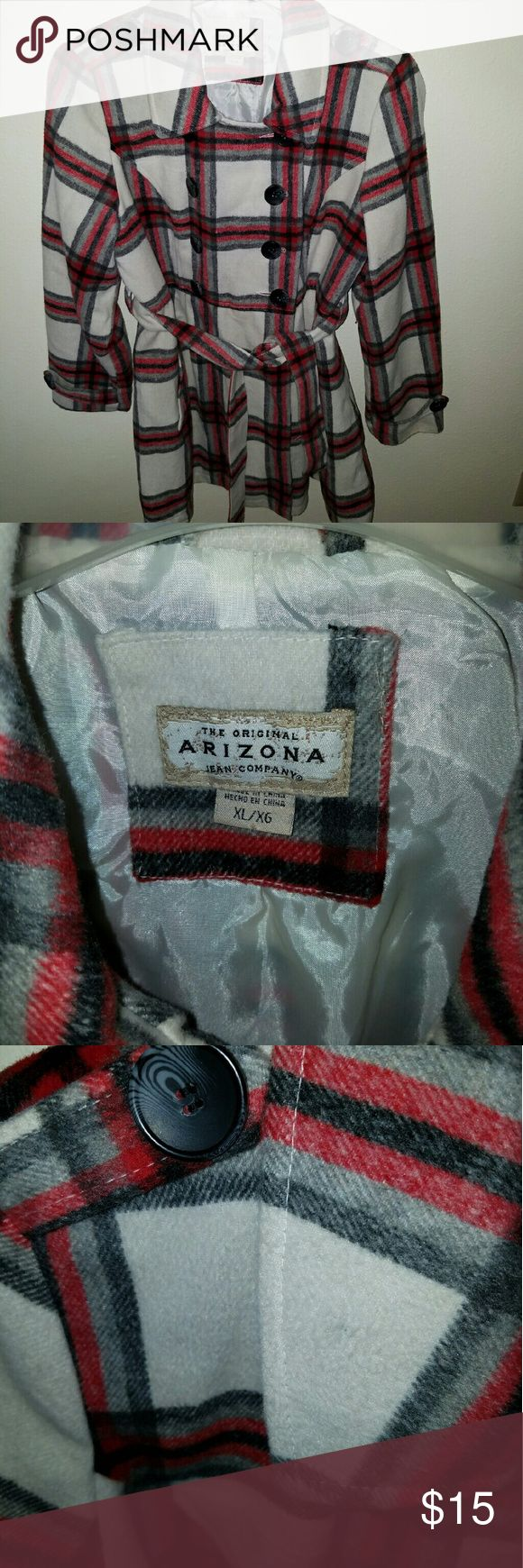 Arizona Jean Co. Plaid Pea Coat Size XL. Cream jacket with red, black and gray plaid. Small black dot on collar (see photo), but otherwise in good condition! Nice fall/winter staple piece! Arizona Jean Company Jackets & Coats Pea Coats