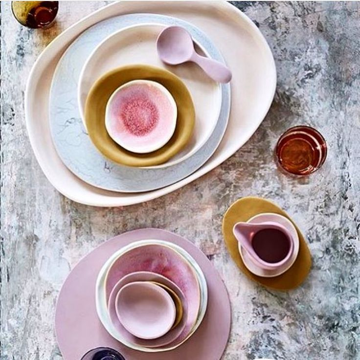 Ceramics: crockery in shades of pink and mustard y…