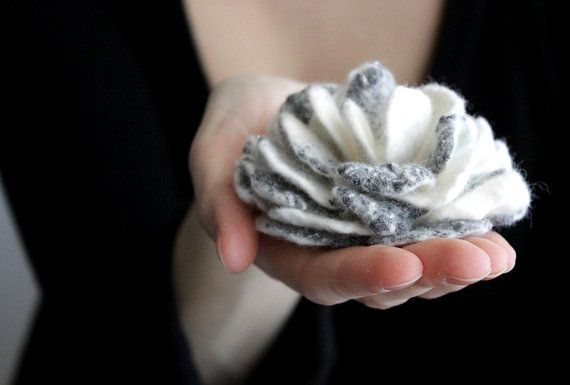 Nuno felted flower brooch white grey by Brunola on Etsy