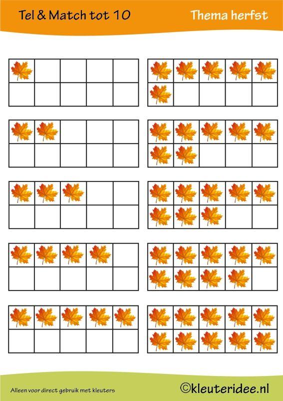 Tel & match tot 10, thema herfst, juf Petra van kleuteridee, count & match 1-10, Preschool autumn theme, free printable 1.