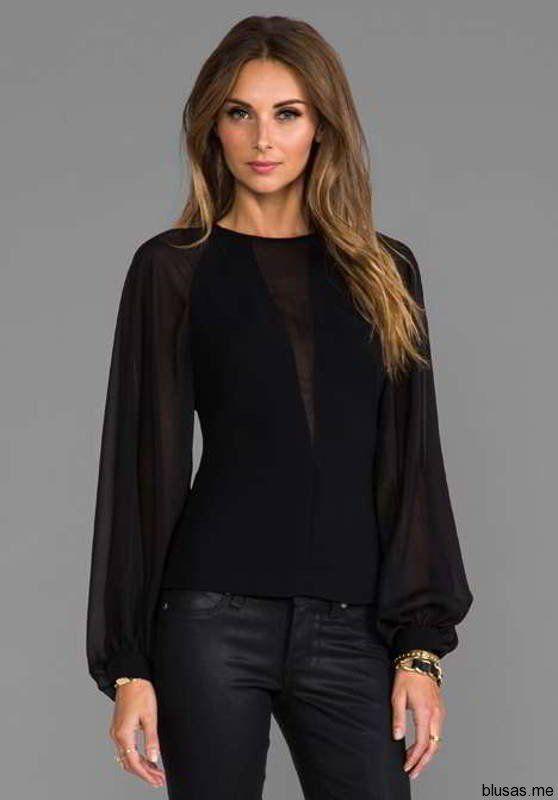 Blusas negras de manga larga para fiesta 2014 - https://blusas.me ...