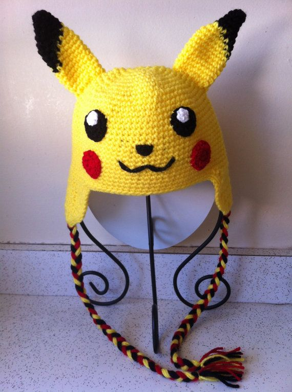 Hand crochet Pikachu hat with ear flaps 6 to 10 years old (ready to ship!)  This is perfect for Pikachu / Pokemon fan! It will keep you warm and perfect