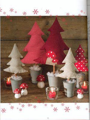 Petits sapins à coudre dans des chutes de tissu - Little Christmas Trees to sew in fabric scrap