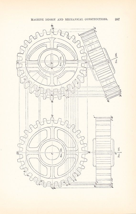 1892 Technical Drawing Gears Antique Math Geometric by Holcroft