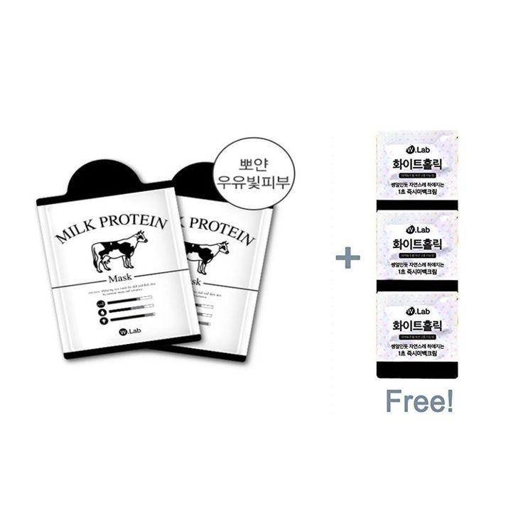 W.lab Milk Protein Mask (7ea) + Free gift White holic 2ml 3ea #WLab