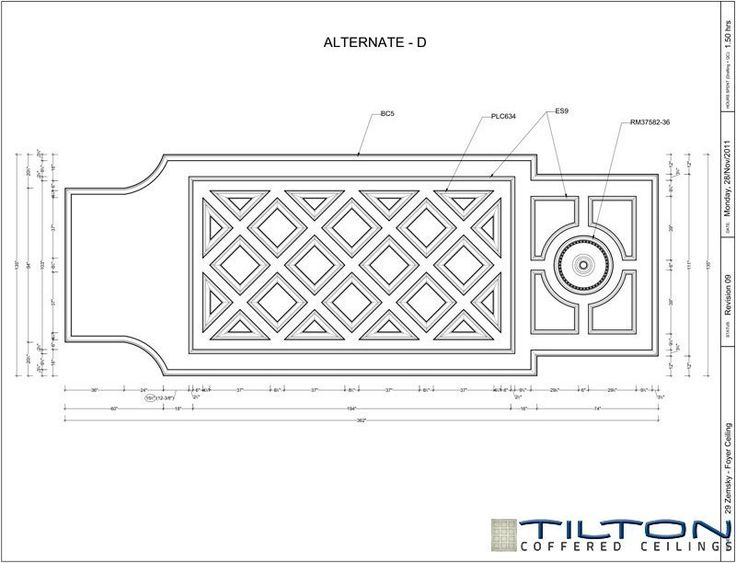 Coffered Ceiling Design Drawing - Diagonal 14