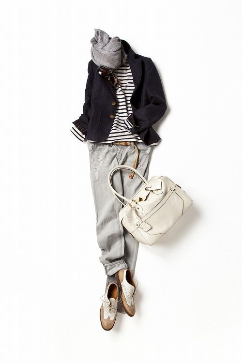 black and white striped shirt, navy blazer, grey scarf and sweatpants (or just jeans?), oxford shoes