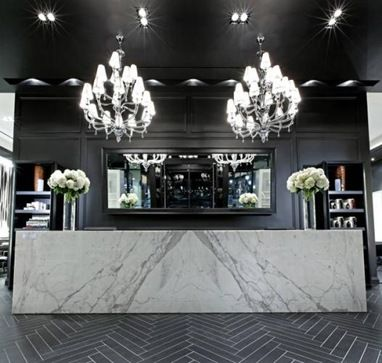 donato salon spa interior design black white contemporary