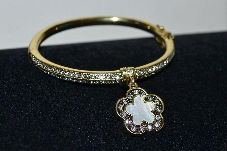 "$95 Heidi Daus Easy Does It"" 5 Leaf Clover MOP Charm Bangle Bracelet M L | eBay"