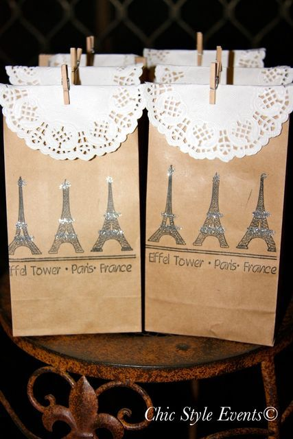 Favors at a Paris birthday party #paris #partyfavors