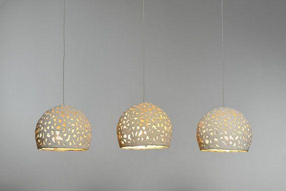 3 ceramic hanging lights