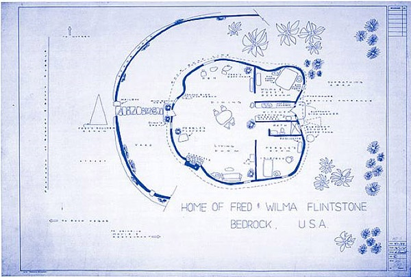 TV & Movie Home Blueprints  Fred & Wilma Flintstone's home