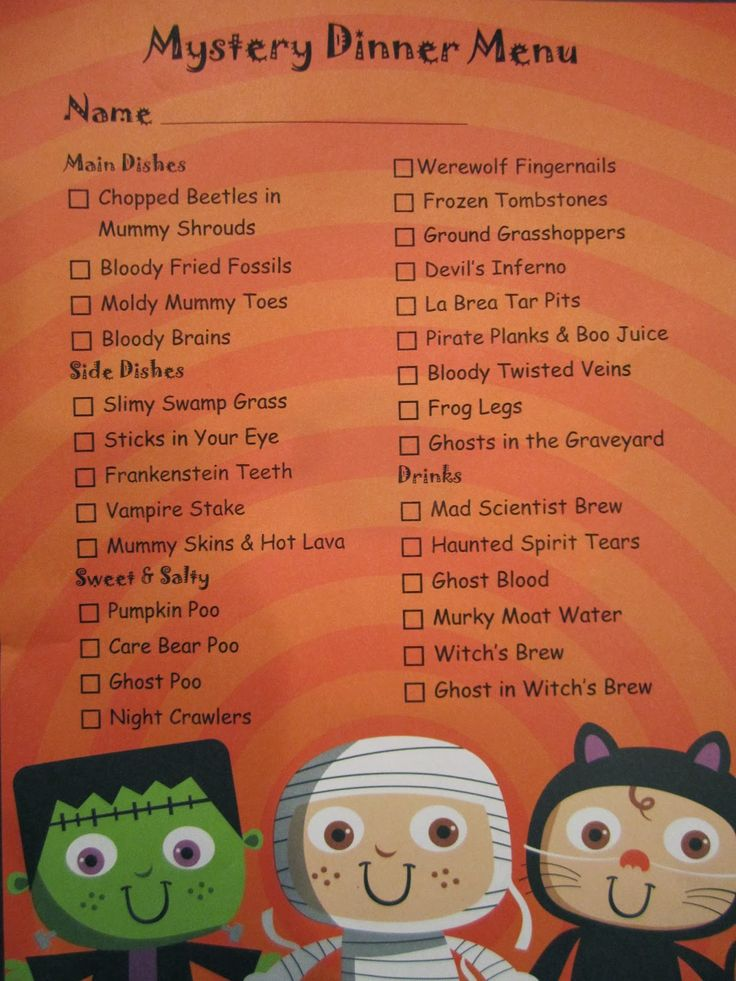Dish spoon foodie gumshoes fun halloween mystery for Ideas for dinner menu