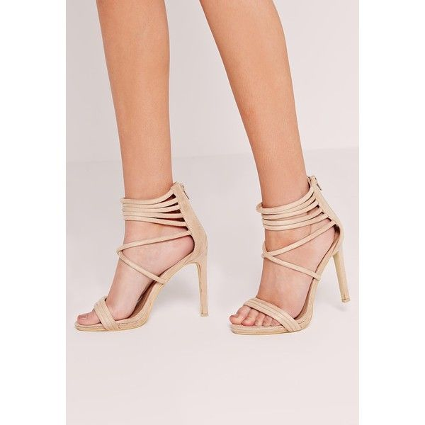 Missguided Strappy Cuff Heeled Sandals Nude ($63) ❤ liked on Polyvore featuring shoes, sandals, cream, sexy strappy sandals, sexy high heel sandals, nude shoes, high heel sandals and sexy high heel shoes