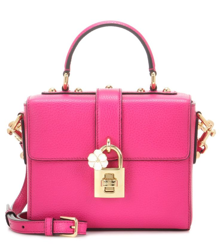 """Dolce & Gabbana - Leather shoulder bag - In a colour that the brand calls """"Rosa Shocking"""", this Dolce & Gabbana shoulder bag packs real sartorial punch. The boxy shape is conveniently compact yet roomy enough for daily essentials, while the gleaming golden hardware finishes the piece with luxe finesse. Let yours pop against neutrals. seen @ www.mytheresa.com"""